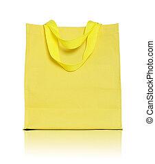 doek, shoppen , gele, zak, achtergrond, witte