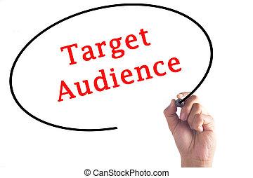 doel, hand, publiek, plank, schrijvende , transparant