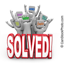 doel, opgeloste, mensen, oplossing, juichen, plan, antwoord, bereikte