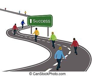 doelen, of, wandelende, concept, groep, succes, asfalt, mannen, straat, het teken van de pijl, reis, groene, overwinning, weg, samenwerking, gebogen, witte , team, bereiken, snelweg