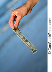 dollar, hand