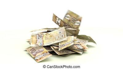 dollars, het vallen, canadees
