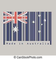 dommekracht, australië vlag, australia., text:, streepjescode, unie, ster stel, rood, gemaakt, blauwe , witte , kleur