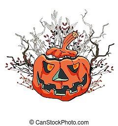 dommekracht, pumpkin., lantern., illustratie, card., vector, halloween, boos, o