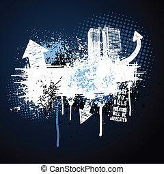 donker blauw, frame, grunge, stad