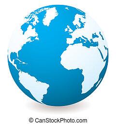 donker, licht, globe, blauwe