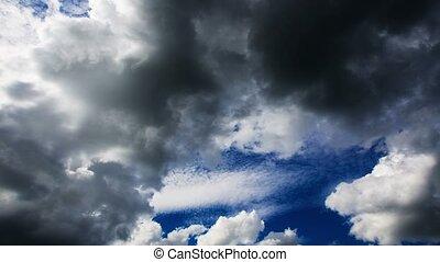 donker, verlaging, 4k., clouds.