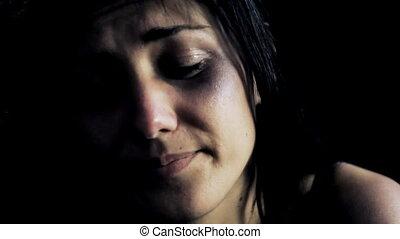 donker, vrouw, kneuzingen, aandoenlijk