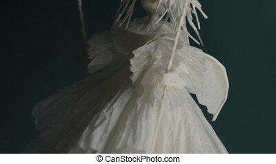 dons, schommel, witte engel, komt