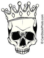 dood, schedel, kroon, illustratie, rozen, vector, menselijk