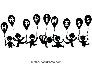 doodle, ballons, kinderen