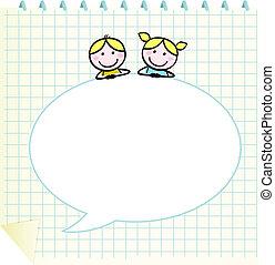 doodle, bel, kinderen, leeg, toespraak, school, notepad