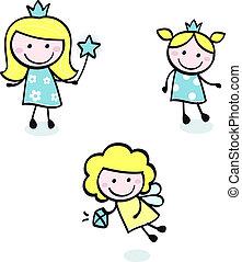 doodle, blauwe , schattig, vrijstaand, -, prinsesje, verzameling, witte