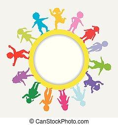 doodle, frame, ronde, kinderen