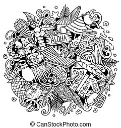 doodle, getrokken, hand, hawaii, illustration., spotprent