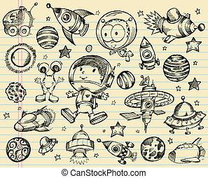 doodle, ruimte, set, schets, buitenst