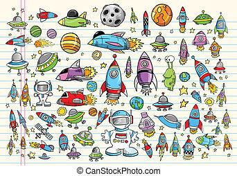 doodle, ruimte, set, vector, ontwerp