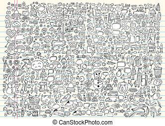 doodle, schets, vector, set, communie