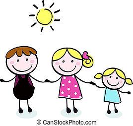 doodle, vader, -, isoleren, gezin, geitje, moeder, witte