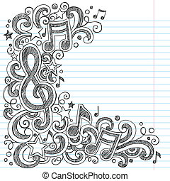 doodle, vector, grens, pagina, muziek