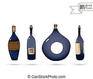 doodle, vector, wijntje, style., bottles.