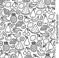 doodle, vruchten, sappig, seamless, black , model
