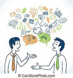 doodle, zakelijk, gesprek