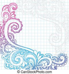 doodles, paisley, rand, sketchy, pagina