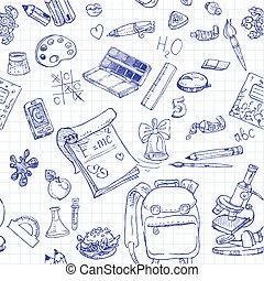 doodles, school, 2, seamless, back