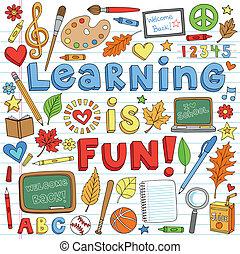 doodles, school, set, back, leren