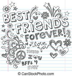 doodles, sketchy, vector, vrienden, best