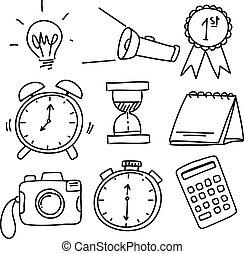 doodles, voorwerpen, gevarieerd