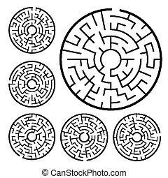 doolhof, set, circulaire