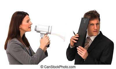 door, megafoon, orders, geven, businesswoman