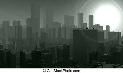door, rook, volle, stad, vliegen