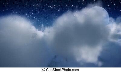 door, wolk, vlieg, moon.
