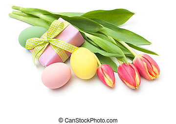 doos voorjaar, bloemen, cadeau, tulpen