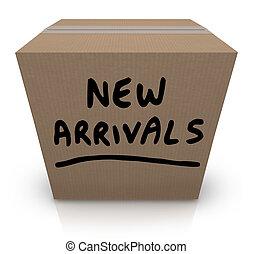 doosje, aankomst, producten, nieuw, karton, koopwaar, laatst