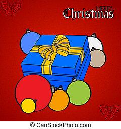 doosje, baubles, cadeau, hand, textured, getrokken, kerstmis, rood
