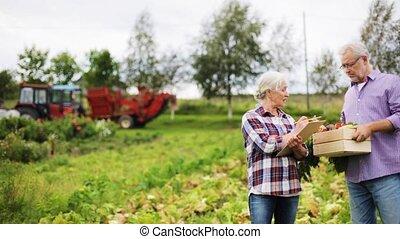 doosje, boerderij, groentes, paar, senior