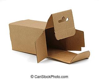 doosje, bruine , close-up, vrijstaand, enkel, achtergrond, witte , karton, open, lege