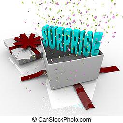 doosje, cadeau, -, jarig, verrassing, kado, vrolijke
