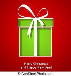 doosje, cadeau, moderne, groet, kerstmis, kerstmis kaart