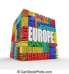 doosje, europe., naam, europeaan, landen