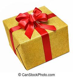 doosje, goud, geschenk buiging, smart, rood
