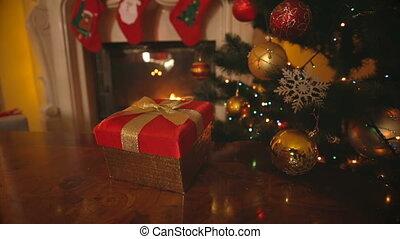 doosje, gouden, grit, kamer, cadeau, levend, boog, dolly, tafel, openhaard, kerstmis, rood