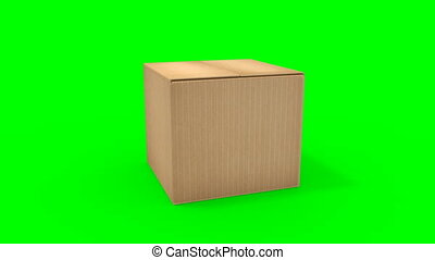 doosje, groot, karton, opening