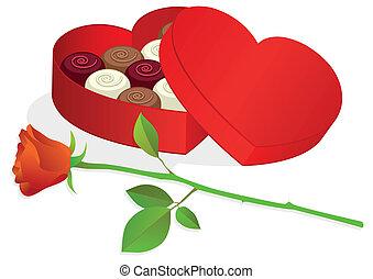 doosje, hart, chocolates., gevormd