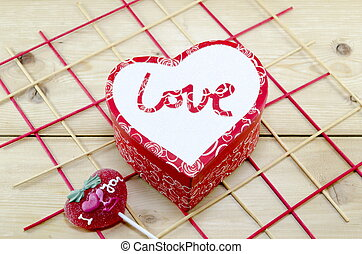 doosje, hart formeerde, versuikeren, verfraaide, rood