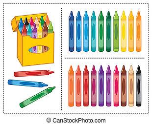 doosje, kleuren, 20, crayons